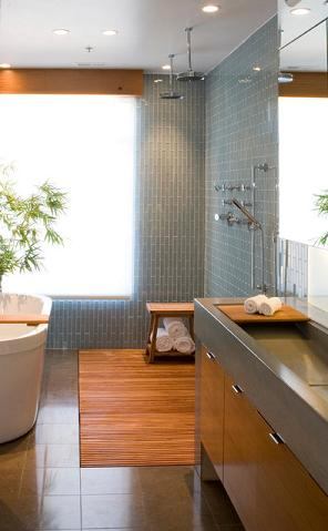 Wood Shower Floors Are Beautiful And Slip Free, And Add A Beautiful Spa Touch To Your Bathroom (by modern house architects)