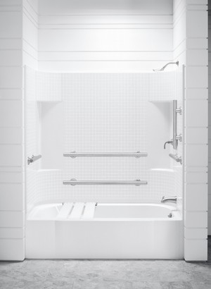 Accord Tiled Back Wall With Grab Bars And Low Step In Bathtub by Sterling