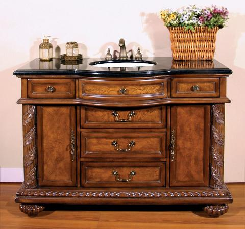 Antique Bathroom Vanity With Five Drawers And Two Cabinets From Legion Furniture
