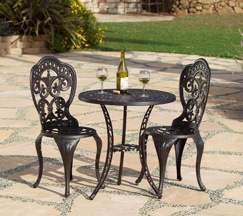 Fiesta 3 Piece Bistro Set GF-LD1060-F3 in Cast Aluminum from AFD