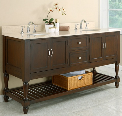 "70"" Mission Style Double Vanity In Espresso With Beige Marble Top From Direct Vanity"