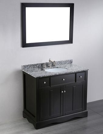 This Contemporary Vanity From Bosconi Has A Faux Drawer In The Center To Accommodate The Undermount Sink, But Includes Two Smaller Working Drawers On Either Side