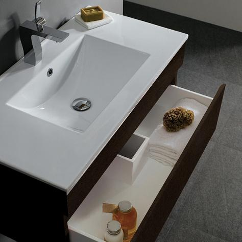 This Wall Mounted Vanity From Vigo Accommodates A Shallow Sink And Its Plumbing With A Slightly Lowered, U-Shaped Drawer
