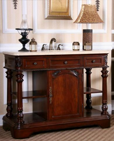 This Vanity From Legion Furniture Has Two Drawers On Either Side, With One Faux Drawer In The Middle, Above The Main Cabinet