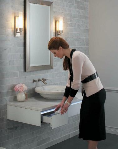 This Wall Mounted Vanity From Robern Is Wheelchair Accessible, And Has Built In Night Lights For Increased Visibility At Night
