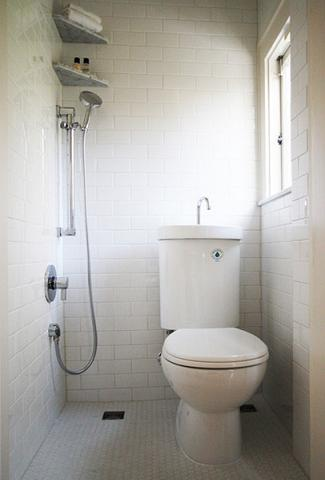 This Genius Remodel Turns A Tiny First Floor Half Bath Into A Fully Functioning Wet Bathroom, Complete With A Hand Shower For Seated Bathing And Toilet With Sink And Grey Water Cistern To Reduce Water Consumption (by Hammer And Hand)