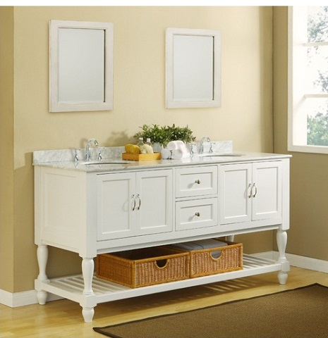 "70"" White Mission Style Open Shelf Bathroom Vanity With Carrara Marble Top From Direct Vanity"