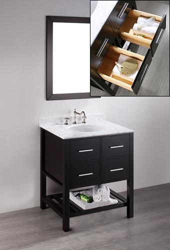 """30"""" Contemporary Open Shelf Vanity With Two Drawers From Bosconi"""