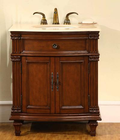 """30"""" Vanity From Silkroad Exclusive With Flat Pannel Doors With Moulding Embellishments"""