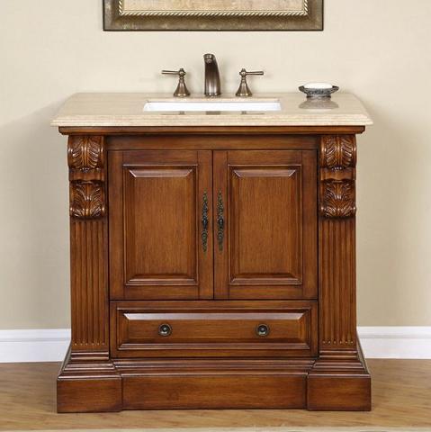 "38"" Vanity From Silkroad Exclusive With Simple Raised Panel Cabinet Doors"