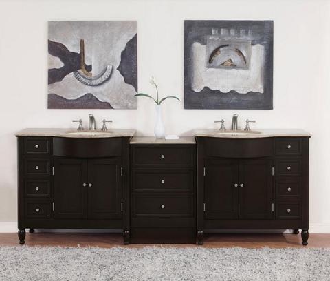 """95"""" Double Modular Bathroom Vanity From Silkroad Exclusive"""