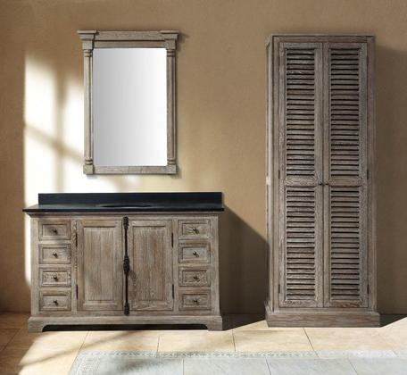 Savannah Driftwood 60 Single Bathroom Vanity With Linen Cabinet And Mirror From James Martin Furniture