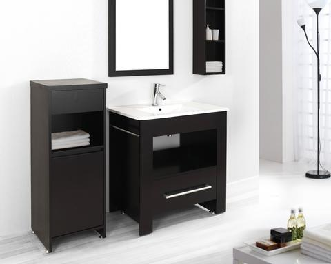 """Masselin 32"""" Bathroom Vanity With Storage Cabinets And Mirror From Virtu USA"""