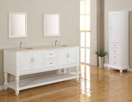 """Pearl White 70"""" Mission Turnleg Double Vanity With Storage Cabinet From Direct Vanity"""