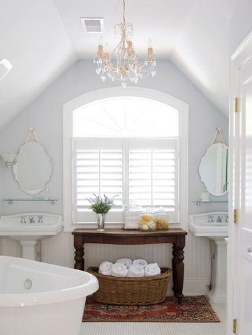 A Petite Crystal Chandelier Can Instantly Change The Character Of A Cottage Style Bathroom, Giving The Whole Space A Posh, Elegant Air (by Brian Patterson Designs)