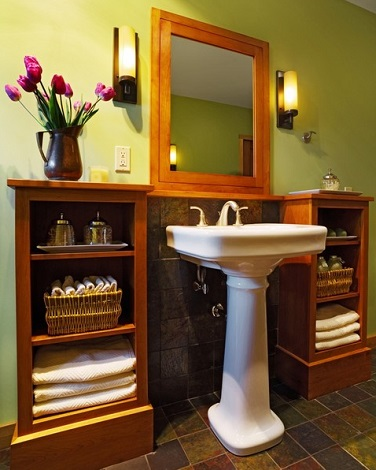 Building Storage Into The Walls Around A Pedestal Sink Makes It Easy To Get Exactly The Storage You Want (by Peregrine Design Build)