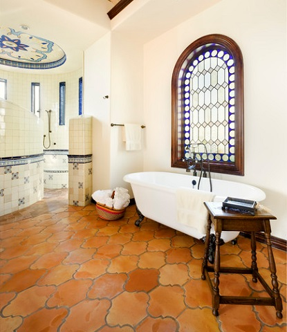 Contrasting Terracotta Oranges With Bright Primary Blues Creates An Instant Mediterranean Look And Feel (by JAUREGUI Architecture Interiors Construction)