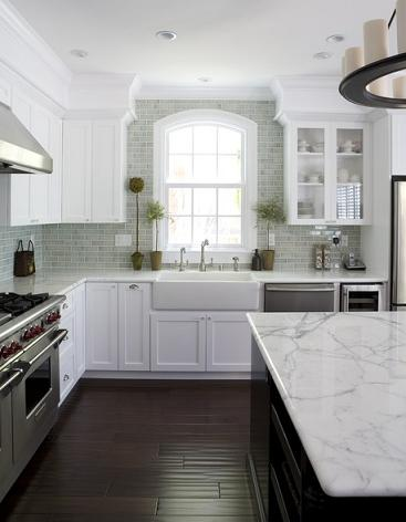 Dark Hardwood Floors Add Lovely Contrast To A White Kitchen, While A Hand Scraped Finish Adds A Slightly Rustic Texture (by Fiorella Design)