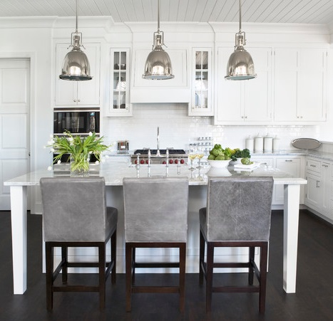 Dark Hardwood Floors Can Nicely Offset An Otherwise Entirely White Kitchen (by Linda McDougald Design)