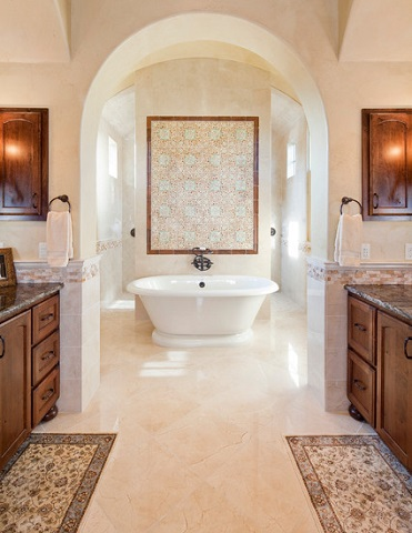 Floor Medallion Style Mosaic Sheets Offer An Elegant Shortcut To The Elaborate Tilework Of Traditional Mediterranean Bathrooms (by Sendero Homes)