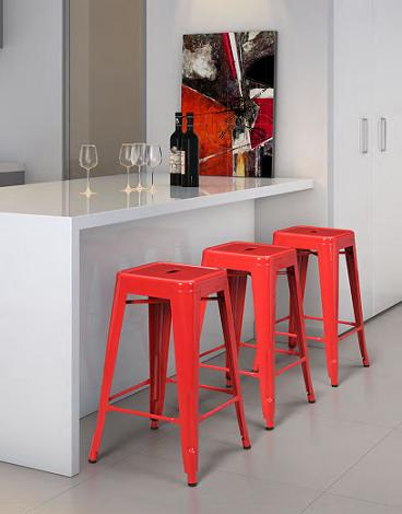 Marius Red Bar Chairs From Zuo Modern
