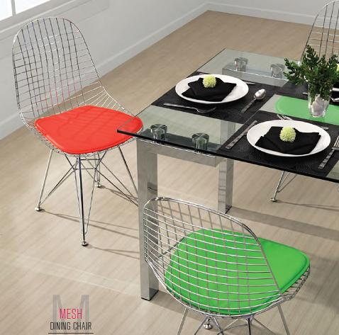 Mesh Dining Chair With Colorful Seat Cushions From Zuo Modern