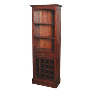 Narrow Mahogany Bookshelf With Built In Wine Rack From Sterling Lighting