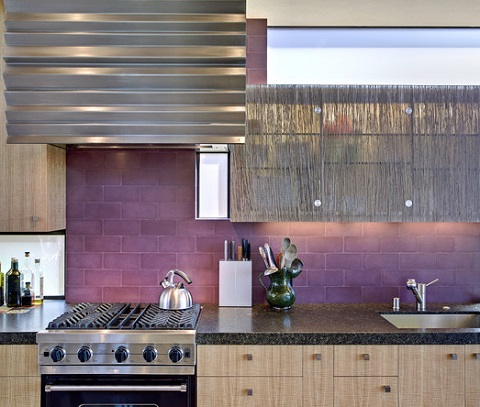 Perhaps The Least Common Color Choice, Purple Backsplashes Have A Bold, Assertive Appearance That Really Stands Out (by WA Design)