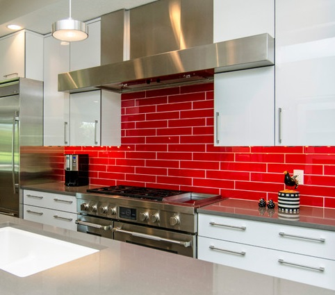 Red Tile Backsplashes Are Bold And Assertive, One Of The Easiest Ways To Add A Dramatic Modern Accent To Your Kitchen (by Homes by DePhillips)