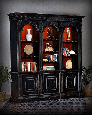 St James Library Bookcase With Cabinets In Black From AFD