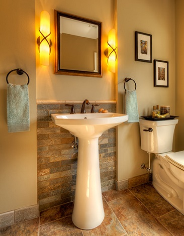 The Sleek, Simple Lines Of A Pedestal Sink (Especially A Slightly Streamlined One) Are A Perfect Pair For A More Modern Look (by Wallner Builders)