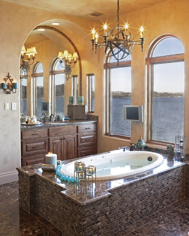 Whether Or Not You Have Abundant Natural Light, Mediterranean Bathrooms Benefit From Lots Of Layered Decorative Lighting Fixtures (by Vanguard Studio Inc.)