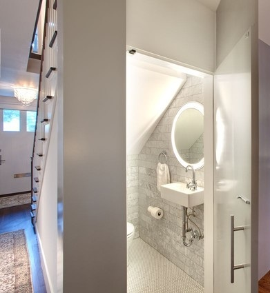 Adding A Bathroom Beneath The Stairs Means Adding Pure Functionality To Your Home Without Sacrificing Anything From Your Existing Floorplan (by Risinger Homes)