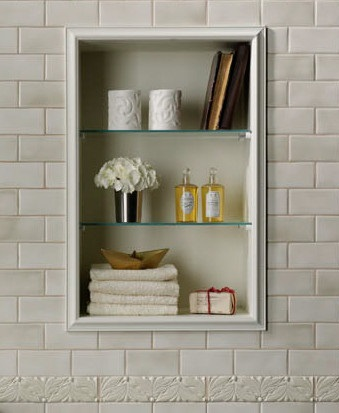 Adding Petite Niche Storage Is An Elegant Way To Get More Storage Space, And Works Equally Well In The Main Bathroom Or In The Shower (by Tileshop)