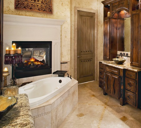Double sided bathroom fireplaces can offer an enticing little glimpse between the master bedroom and bathroom & Bathroom Fireplaces: Biofuel Fireplaces For A Master Bathroom