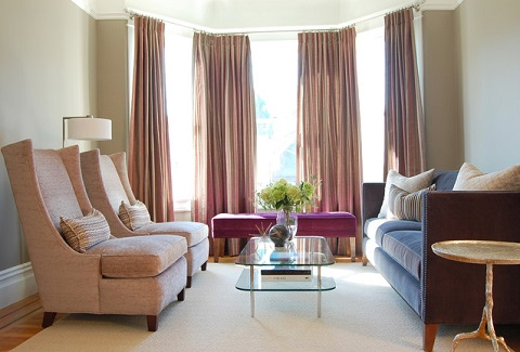 Orchid Accent Furniture Can Add A Fresh, Cheery Touch To A More Traditioanl, Neutral-Toned Living Room (by Niche Interiors)