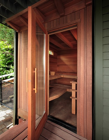Saunas Can Easily Be Built Large Enough For A Crowd, And Are A Great Feature To Have Poolside, As You Can Cool Off Quickly In The Water Between Heat Sessions (by MCM Construction Inc.)