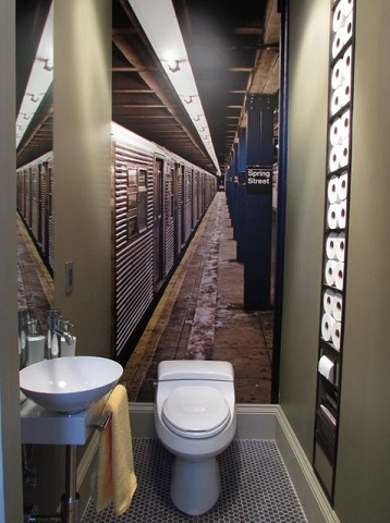 This Brilliant Half Bathroom Uses A mirror And A Mural To  Create The Illusion Of A Larger Space, As Well As A Recessed Niche For Functionality (by Olive Juice Designs)