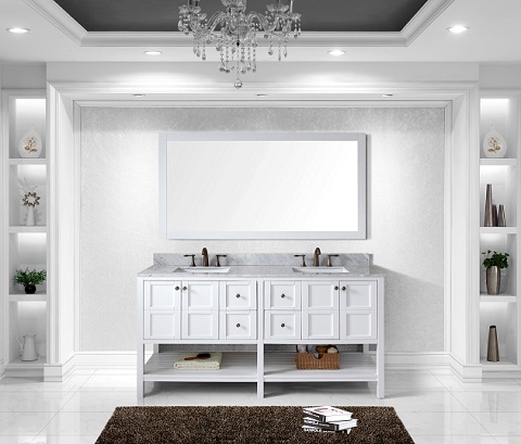 A white on white decor in a stark blueish white light will have a very striking modern look and feel