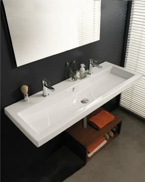Cangas Trough Style Modern Double Sink Frorm Ceramica Tecla