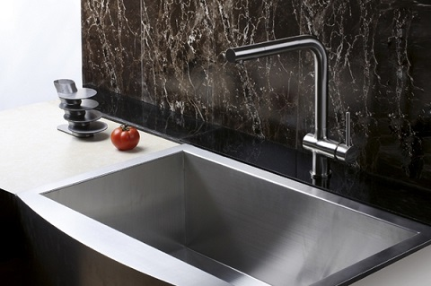 Cascada Single Handle Kitchen Faucet In Brushed Nickel With Solid Brass Construction From Ruvati