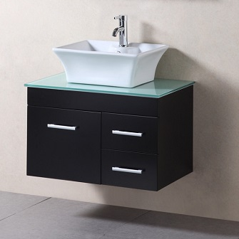 "Madrid 30"" Wall Mounted Bathroom Vanity With Vessel Sink From Design Element"