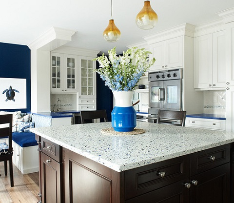 Recycled glass countertops are eco friendly, durable, and available in an a huge variety of color combinations (by Karen B. Wolf Interiors, photo by Christian Garibaldi)