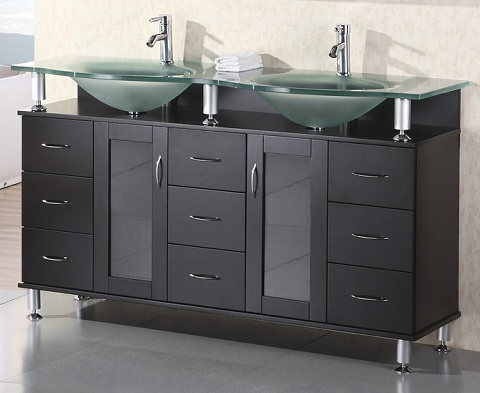 "Redondo 61"" Bathroom Vanity With Tempered Glass Vanity Top From Design Element"