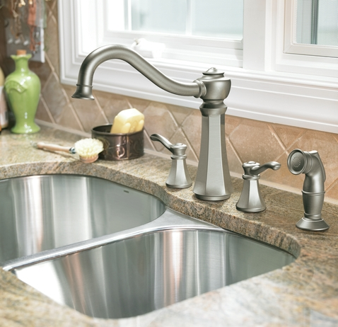Vestige Double Handle Widespread Faucet With Sprayer From Moen