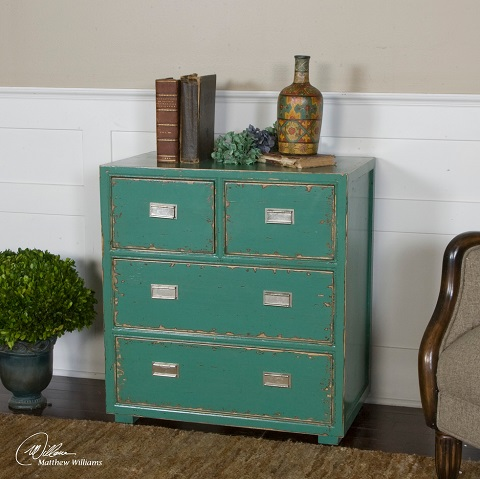 Aquias Hand Painted Accent Chest From Uttermost
