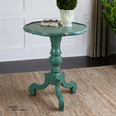 Aquila Pedestal Accent Table From Uttermost