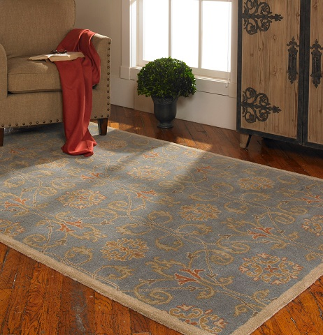 Favara 9 x12 Hand Tufted Blue Wool Rug From Uttermost