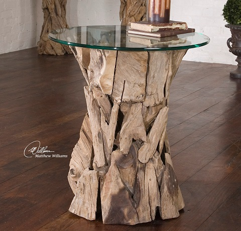 Teak Root Glass Top Lamp Table 25583 From Uttermost