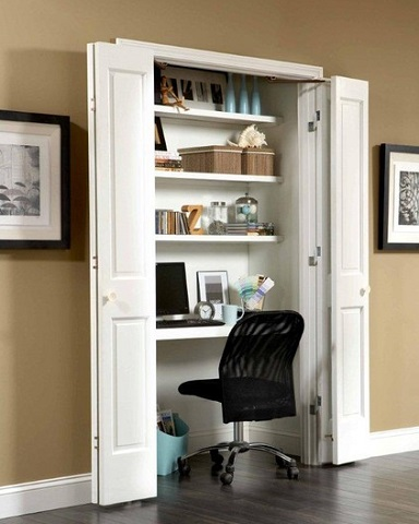 Closets are the perfect size and shape for adding a workstation, and allow messy desks to be hidden away when they aren't in use (by Johnson Hardware)